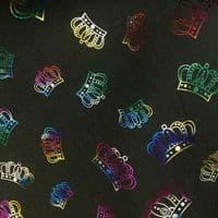Luxury DENIM Foil CROWNS Fabric Material - BLACK